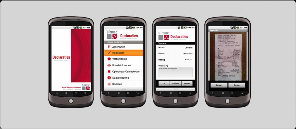 Simac Declaratie App. It makes sending in your receipts a breeze. 65% Time saver.